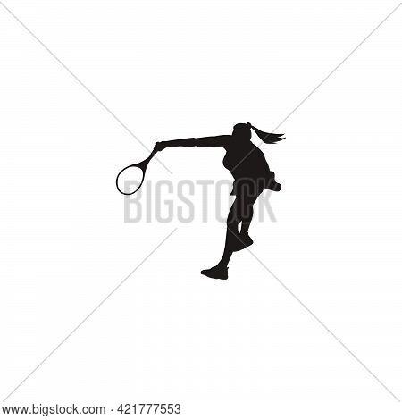 Sport Woman Swing His Tennis Racket To Smash The Ball Silhouette - Tennis Athlete Cartoon Smashing T