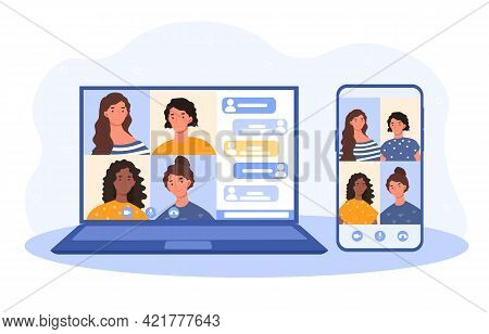 Corporate Video Call, Distant Discussion. Friends Talking Online. Businessman Working Remote At Home
