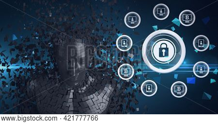 Composition of exploding metallic human bust and online security padlock and digital icons. global online identity and security concept digitally generated image.
