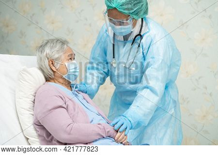 Asian Doctor Wearing Face Shield And Ppe Suit New Normal To Check Patient Protect Safety Infection C