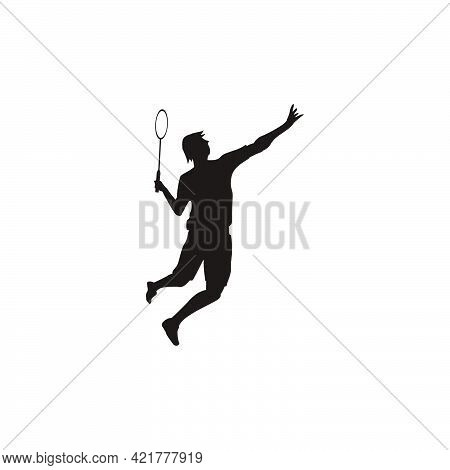 Silhouette Of Men Badminton Player Jumping At Court - Silhouette Of  Sport Men Are Playing Badminton