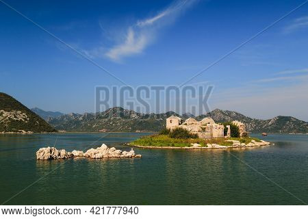 A Beautiful View At Grmozur Fortress Ruin At The Island Grmozur In Lake Skadar National Park In Mont