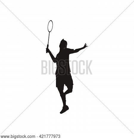 Silhouette Of Sport Man Badminton Player Smashing The Ball - Silhouette Of Badminton Athlete Are Pla