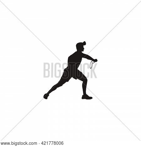 Silhouette Of Sport Man Badminton Receiving The Shuttlecock From The Opponent - Silhouette Of Badmin