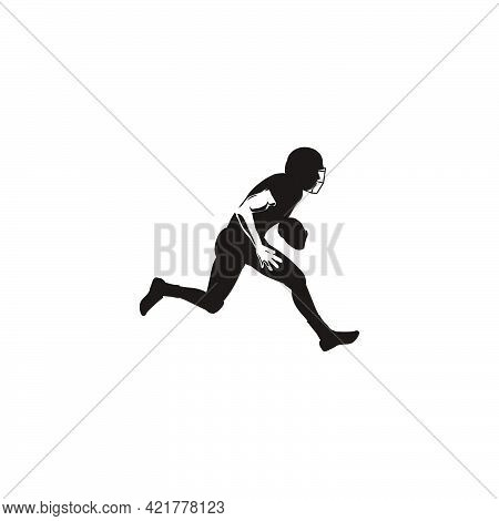 Silhouette Of Sport Men Keeping The Ball When Playing Rugby - Football Player Running With The Ball