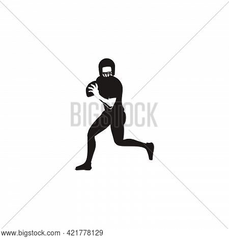 Silhouette Of Men Running With The Ball When Playing Rugby - Football Player Running With The Ball S
