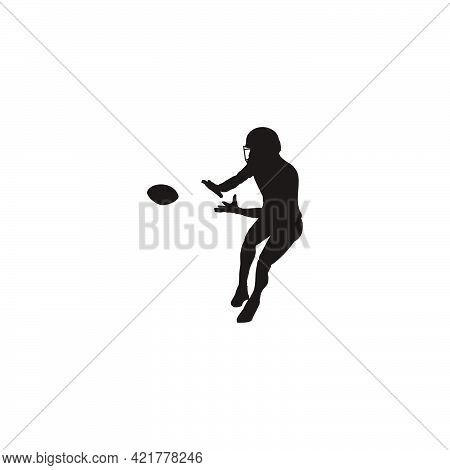Silhouette Of Sport Man Catching The Ball On A Football Game - Rugby Player Catching The Ball Silhou