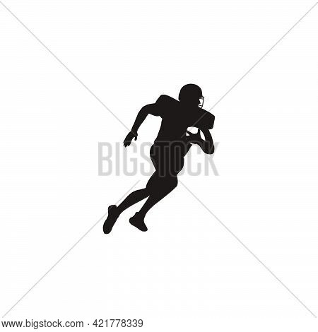 Silhouette Of Men Running Fast With The Ball When Playing Rugby - Football Player Running Fast With