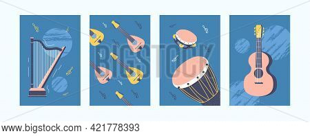 Illustration Set For Music Concept In Pastel Colors. Music Instruments In Pastel Style. Tambourine,