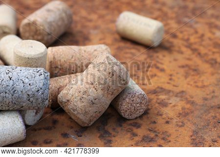 Wine Cork From From Semi-sweet Wine, Cork From White Wine And Cork From Red Wine Among Other Corks O