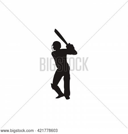 cricket athlete getting ready to hit the ball on cricket game - sport man cartoon getting ready to hit the ball isolated on white