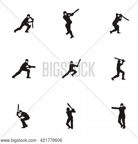 sport man hit the ball on cricket game silhouette set - cricket athlete silhouette set hit the ball isolated on white