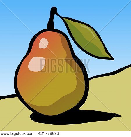 Drawn Ripe Pear Fruit With A Leaf. Vector Illustration.