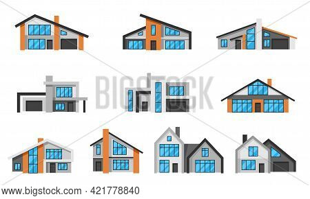 Set Of Modern Luxury Houses. Real Estate Cottages.