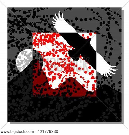 Mountain Landscape With An Eagle. Abstract Composition. Wall Decor, Poster Design. Vector Illustrati