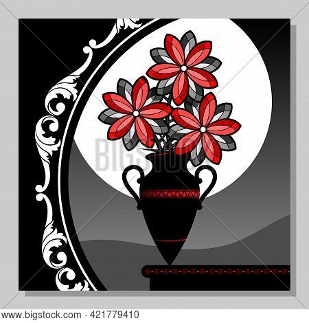 Abstract Still Life With A Bouquet Of Red Flowers In A Vase. Wall Decor, Poster Design. Vector Illus