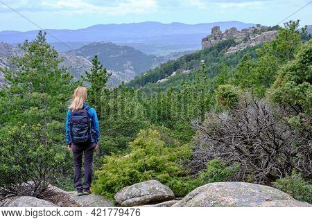 Woman In The Nature Admiring The View From A Rock