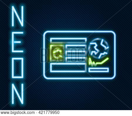 Glowing Neon Line Passport With Visa Stamp Icon Isolated On Black Background. Identification Documen
