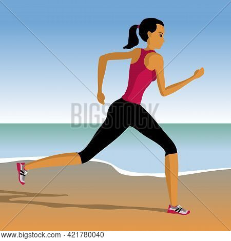Cartoon Sports Girl Running On The Beach. Woman Engaged In Jogging. Vector Illustration.