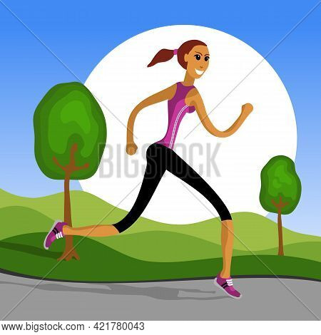 A Sportive Girl Goes Jogging In The Park. Woman Engaged In Jogging. Vector Illustration.