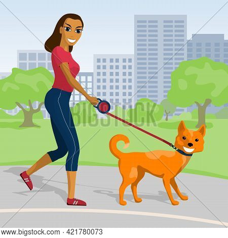 Happy Young Woman Walking With Her Dog In The Park. Vector Illustration.