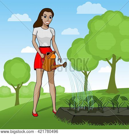 Young Woman Pouring A Vegetable Garden. Happy Female Gardener Is Watering Plants From A Watering Can