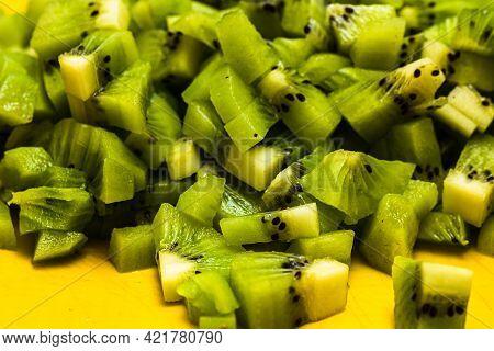 Ripe Kiwi Fruit. Detail Of Chopped Exotic Kiwi Fruits Used For Desserts