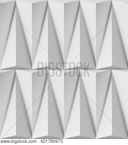 Abstract White Background With Triangular 3d Shapes In Pattern And Side Light
