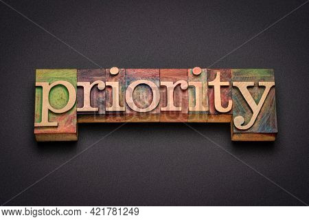 priority word abstract in vintage letterpress wood type, order, importance and preference concept