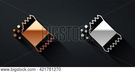 Gold And Silver Packet Of Pepper Icon Isolated On Black Background. Long Shadow Style. Vector