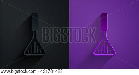Paper Cut Barbecue Spatula Icon Isolated On Black On Purple Background. Kitchen Spatula Icon. Bbq Sp