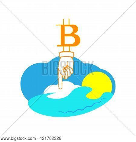 Mining Bitcoin Using Renewable Energy Sources. Blockchain Technology, Bitcoin Mining Concept. Energy