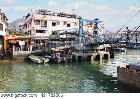 Hong Kong-apr. 11, 2011: Tai Chung Bridge Marks The Entrance To Tai O, A Fishing Town On Lantau Isla