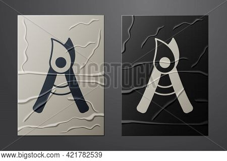 White Gardening Handmade Scissors For Trimming Icon Isolated On Crumpled Paper Background. Pruning S