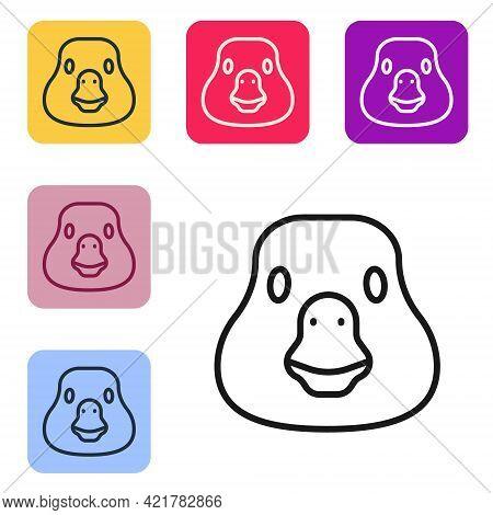 Black Line Goose Bird Icon Isolated On White Background. Animal Symbol. Set Icons In Color Square Bu