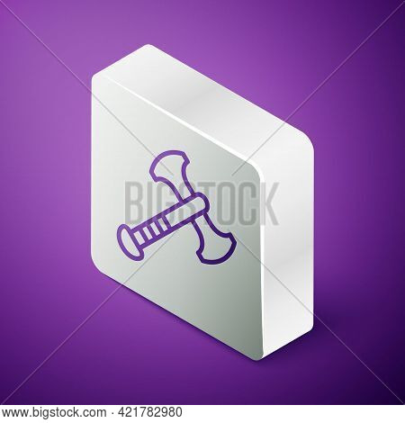 Isometric Line War Axe Icon Isolated On Purple Background. Battle Axe, Executioner Axe. Medieval Wea