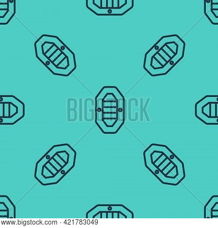Black Line Rafting Boat Icon Isolated Seamless Pattern On Green Background. Inflatable Boat With Pad