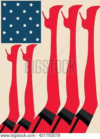 Illustration Of The American Flag Made Of Cabaret Girls Feet