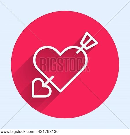 White Line Amour Symbol With Heart And Arrow Icon Isolated With Long Shadow. Love Sign. Valentines S