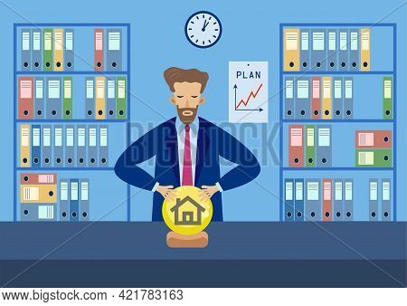 Flat Vector Image, Concept Business Character, Businessman In Office Looks Into A Crystal Ball Makin