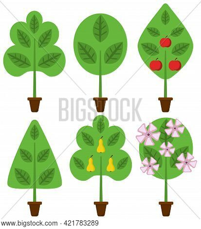 Fruit Trees - Pear And Apple Trees With Apples, Pears And Flowers Vector Set Cartoon Style
