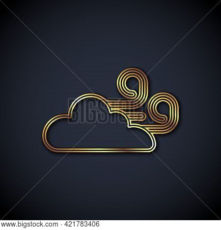 Gold Line Windy Weather Icon Isolated On Black Background. Cloud And Wind. Vector