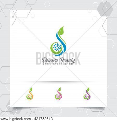 Spa Beauty Logo Vector Design With Concept Of Green Nature. Spa And Treatment Logo For Salon Beauty