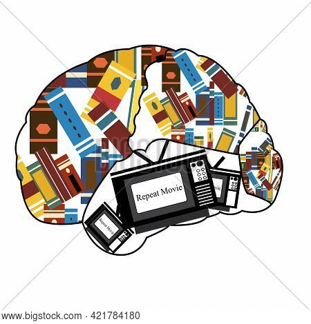 Illustration Of A Brain Filled With Books And A Tv Showing That The Same Movie Its Keep Repeating In