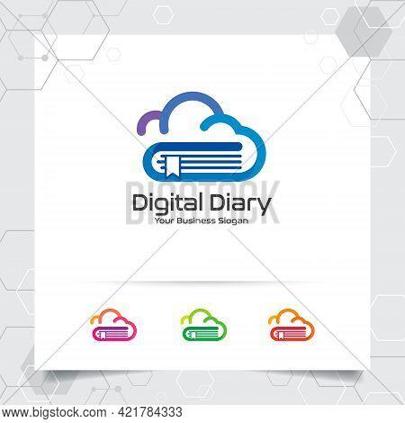 Book Cloud Logo Vector Design With Concept Of Colorful Cloud And Book Icon. Cloud Icon Vector For Bu
