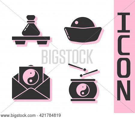 Set Chinese Drum, Dumpling On Cutting Board, Yin Yang And Envelope And Sushi Icon. Vector