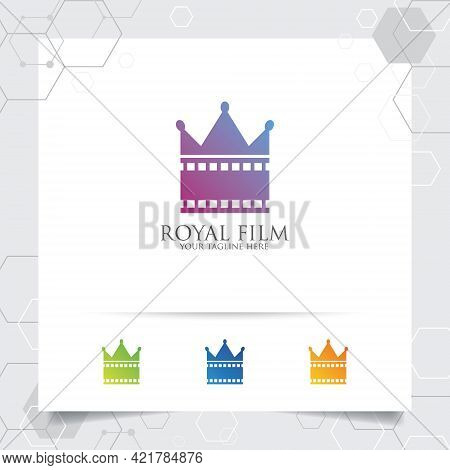 Film Cinema Logo Vector With Concept Of Film Stip And Crown Icon Design For Recording Studio, Movie