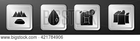 Set Oilfield, Oil Drop, Bio Fuel Canister And Oil Industrial Factory Building Icon. Silver Square Bu