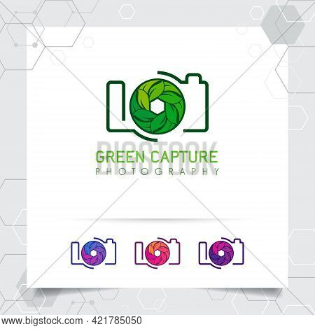 Photography And Photo Logo Design With Concept Of Leaf Icon And Camera Lens Vector For Photographer,
