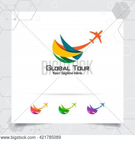 Travel Logo Design Concept Of Airplane Icon With Globe Symbol. Traveling Logo Vector For World Tour,